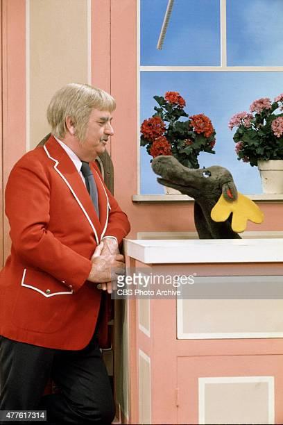 Bob Keeshan as Captain Kangaroo talking to Mister Moose Image dated 1979