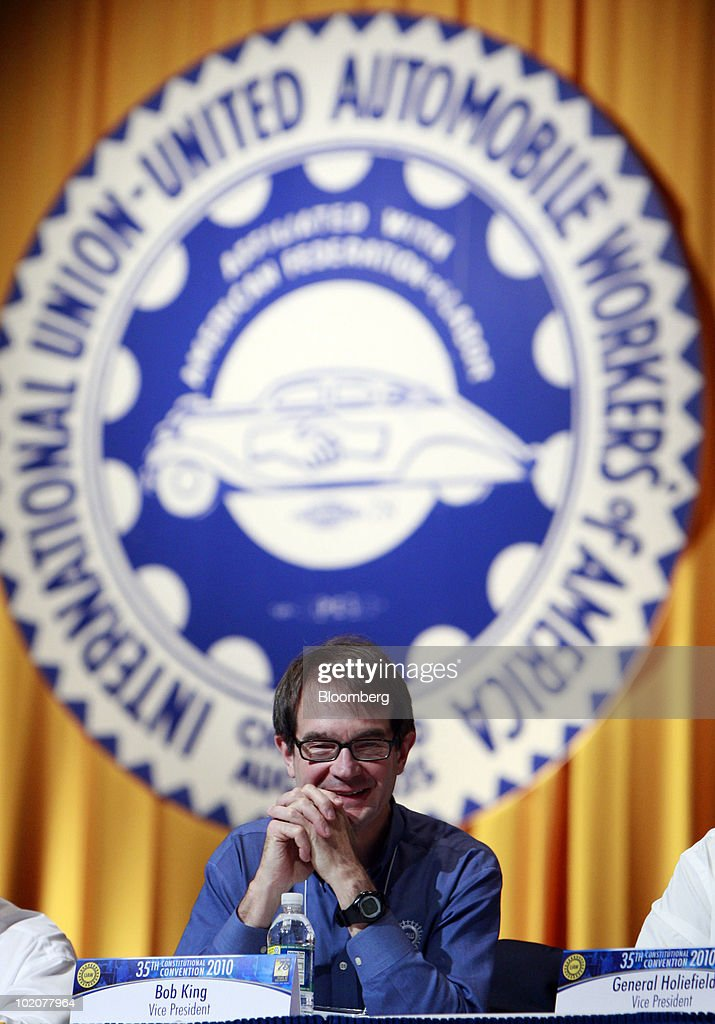 Bob King, incoming president of the United Auto Workers, listens to a speech by outgoing president Ron Gettelfinger at the UAW's constitutional convention in Detroit, Michigan, U.S., on Monday, June 14, 2010. Gettelfinger, ending eight years as the union's leader, said the U.S. auto industry is recovering and credited President Barack Obama with saving it. Photographer: Jeff Kowalsky/Bloomberg via Getty Images