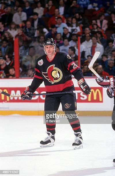 Bob Kudelski of the Ottawa Senators skates on the ice during an NHL game against the Philadelphia Flyers on February 9 1993 at the Spectrum in...
