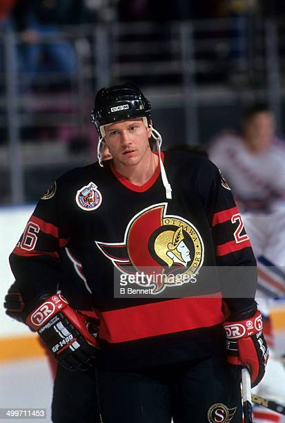 Bob Kudelski of the Ottawa Senators warmsup before an NHL game against the New York Rangers on January 6 1993 at the Madison Square Garden in New...