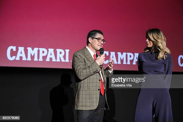 Bob KunzeConcewitz and Mia Ceran attend the 'Campari Red Diaries' press conference on January 24 2017 in Rome Italy