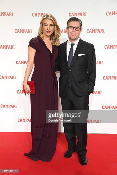 Bob KunzeConcewitz and Mia Ceran walk the red carpet for 'Campari Red Diaries Killer In Red' on January 24 2017 in Rome Italy