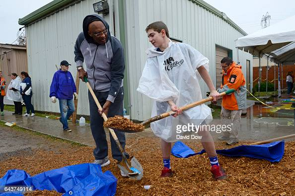Bob Lanier participates during the NBA Cares Day of Service as part of 2017 AllStar Weekend at the KaBOOM Rebuilding Together at William Heart School...