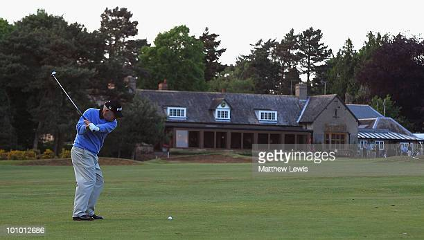 Bob Larratt of Kibworth plays a shot from the 18th fairway during the second round of the Senior PGA Professional Championship at Northamptonshire...