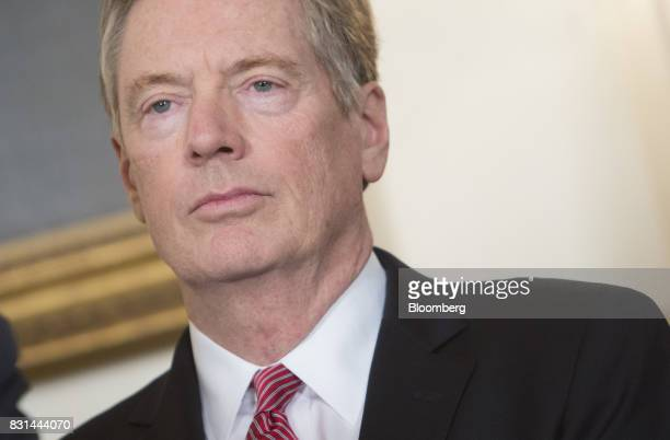 Bob Lighthizer US trade representative attends a signing of a memorandum on addressing China's laws policies practices and actions related to...