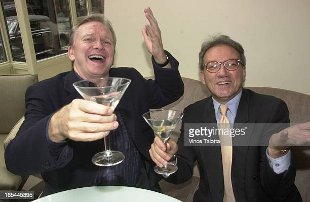 BOB MACKIE 06/13/02 Bob Mackiefashion designer and Gary Chowenhair dresser enjoy a drink together after seeing eachother for the first time in a long...
