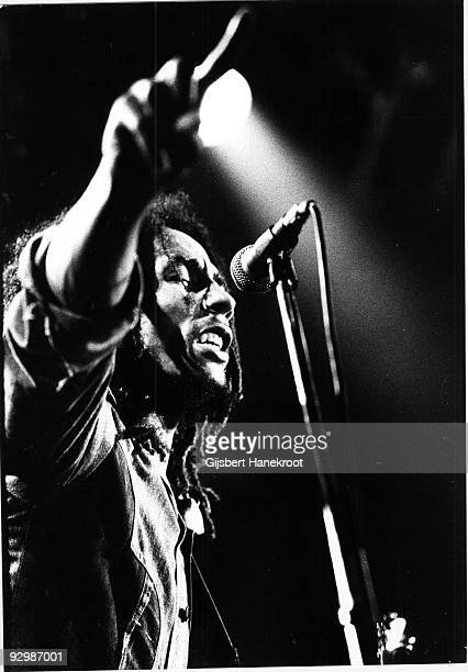 Bob Marley performs live on stage with the Wailers in The Hague Holland in 1976