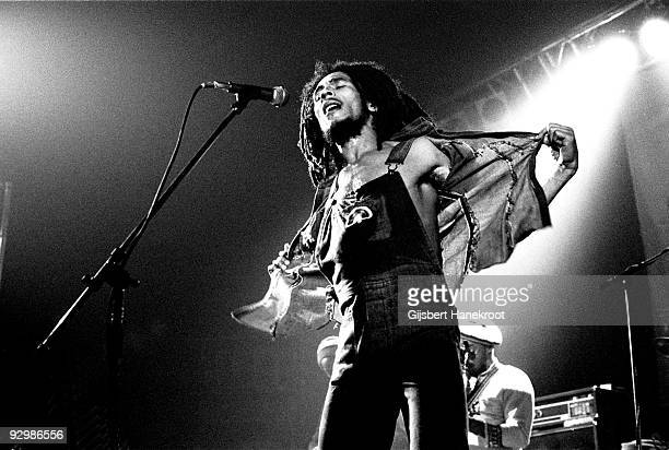 Bob Marley performs live on stage with the Wailers in Voorburg Holland in 1976