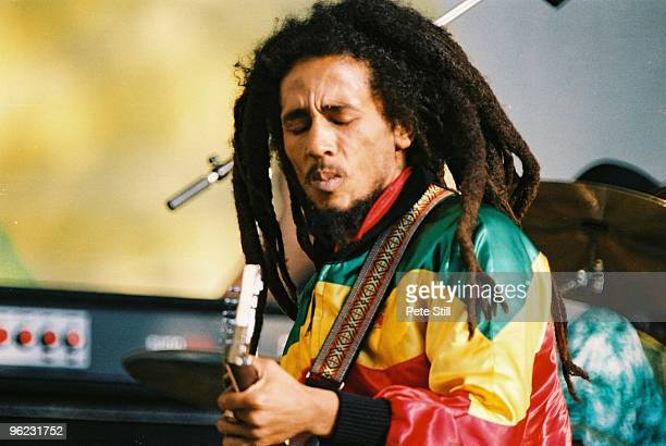 Bob Marley performs on stage at Crystal Palace Bowl on June 7th 1980 in London United Kingdom