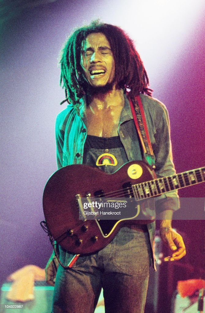 <a gi-track='captionPersonalityLinkClicked' href=/galleries/search?phrase=Bob+Marley&family=editorial&specificpeople=240470 ng-click='$event.stopPropagation()'>Bob Marley</a> performs on stage with The Wailers at Houtrust Hallen on 13th May 1977 in The Hauge, Netherlands. He plays a Gibson Les Paul Special guitar.
