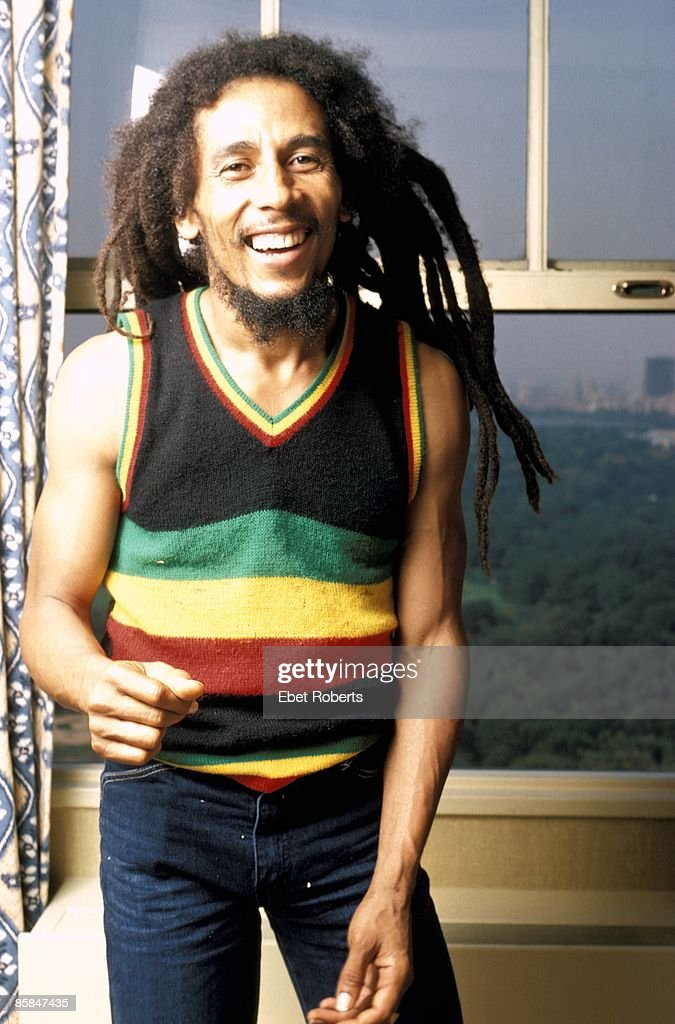 Photo of Bob MARLEY; Posed portrait of <a gi-track='captionPersonalityLinkClicked' href=/galleries/search?phrase=Bob+Marley&family=editorial&specificpeople=240470 ng-click='$event.stopPropagation()'>Bob Marley</a>. The photograph was taken in his hotel room at the St Moritz Hotel on September 21, 1980.