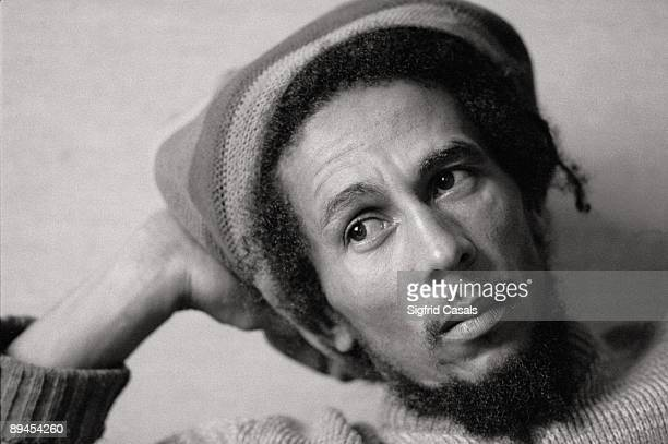 Bob Marley singer The singer sat with a Jamaican cap