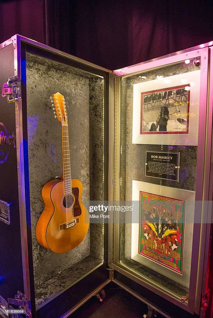Bob Marley's Guild 12 string guitar on display at Hard Rock's 'Gone Too Soon' and 'Music Gives Back' Media Preview Day at Hard Rock Cafe New York on February 13, 2013 in New York City.