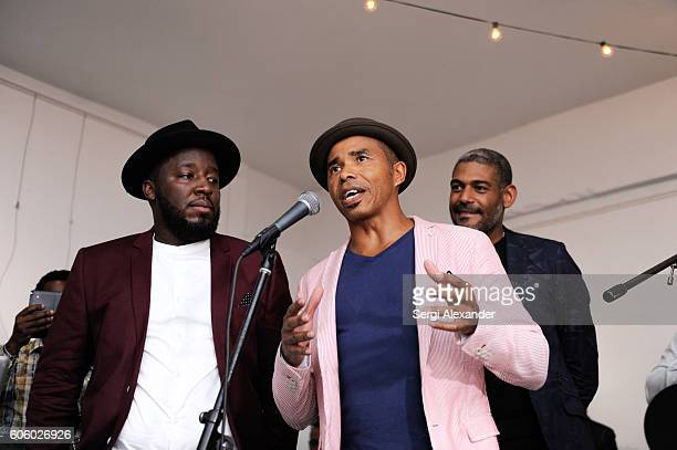Bob Metelus Patrick Glemaud and Fabrice Tardieu onstage at Haitian photographer Bob Metelus unveils newest collection Haiti A Collective Cry from a...