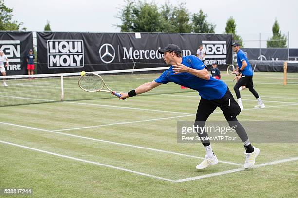 Bob Mike Bryan of the USA in action winning against Denis Istomin of Uzbekistan and Illya Marchenko of Ukraine at the ATP World Tour 250 Mercedes Cup...