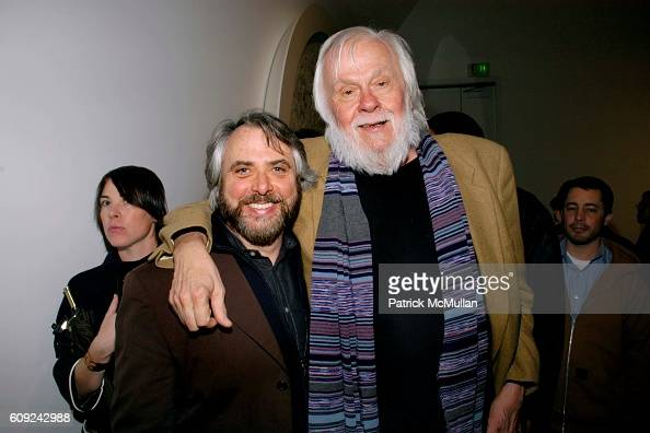 Bob Monk and John Baldessari attend DAMIEN HIRST SUPERSTITION Gallery Opening at Gagosian Gallery on February 22 2007 in Beverly Hills CA