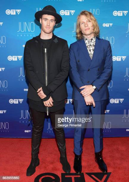 Bob Moses arrives at the 2017 Juno Awards at Canadian Tire Centre on April 2 2017 in Ottawa Canada