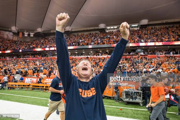 Bob Neideifer is overcome with emotions he later explained 'I've never seen anything like this' regarding Syracuse upset victory over Clemson Tigers...