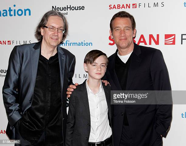 Bob Nelson Jaeden Lieberher and Clive Owen attend the premiere of Saban Films' 'The Confirmation' on March 15 2016 in Los Angeles California