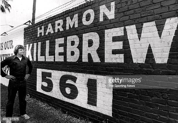 Bob Newberry standing alongside this fence sign at Jackonsville may be Harmon Killebrew's greatest admirer Newberry who is in the jewlery business at...