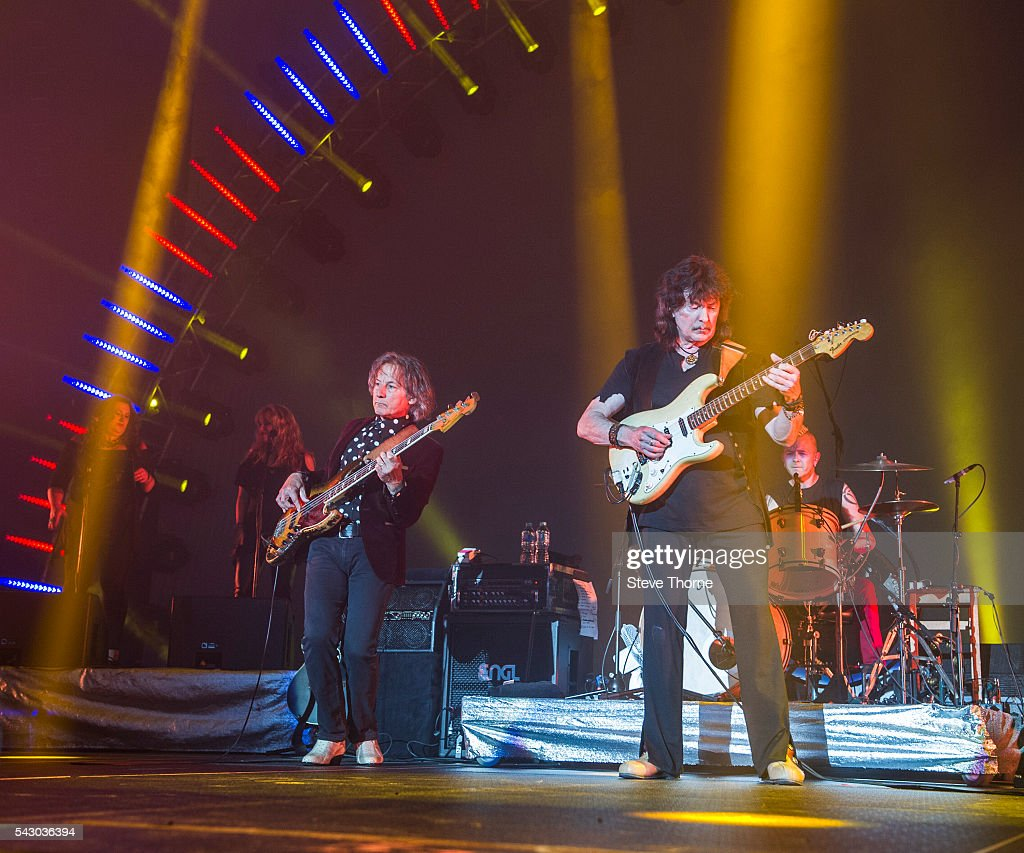 Bob Nouveau and <a gi-track='captionPersonalityLinkClicked' href=/galleries/search?phrase=Ritchie+Blackmore&family=editorial&specificpeople=7349787 ng-click='$event.stopPropagation()'>Ritchie Blackmore</a> of Rainbow perform at Genting Arena on June 25, 2016 in Birmingham, England.