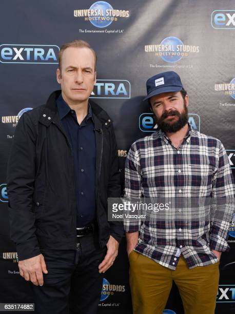 Bob Odenkirk and Michael Paul Stephenson visit 'Extra' at Universal Studios Hollywood on February 13 2017 in Universal City California