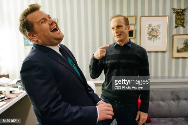 Bob Odenkirk chats in the green room with James Corden during 'The Late Late Show with James Corden' Wednesday February 22 2017 On The CBS Television...