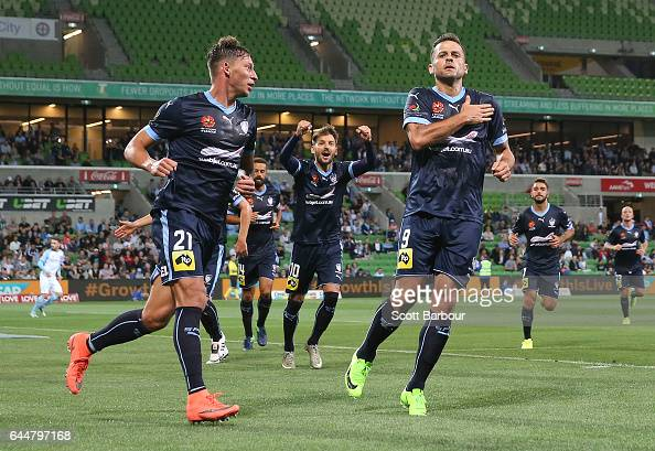 Bob of Sydney FC celebrates with Filip Holosko after scoring their first goal during the round 21 ALeague match between Melbourne City and Sydney FC...
