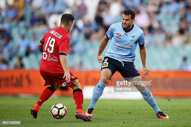 Bob of Sydney FC is challenged by Ben Garuccio of United during the round 16 ALeague match between Sydney FC and Adelaide United at Allianz Stadium...