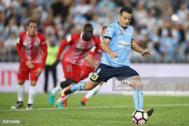 Bob of Sydney FC scores a goal from the penalty spot during the round 10 ALeague match between Sydney FC and Melbourne City FC at ANZ Stadium on...