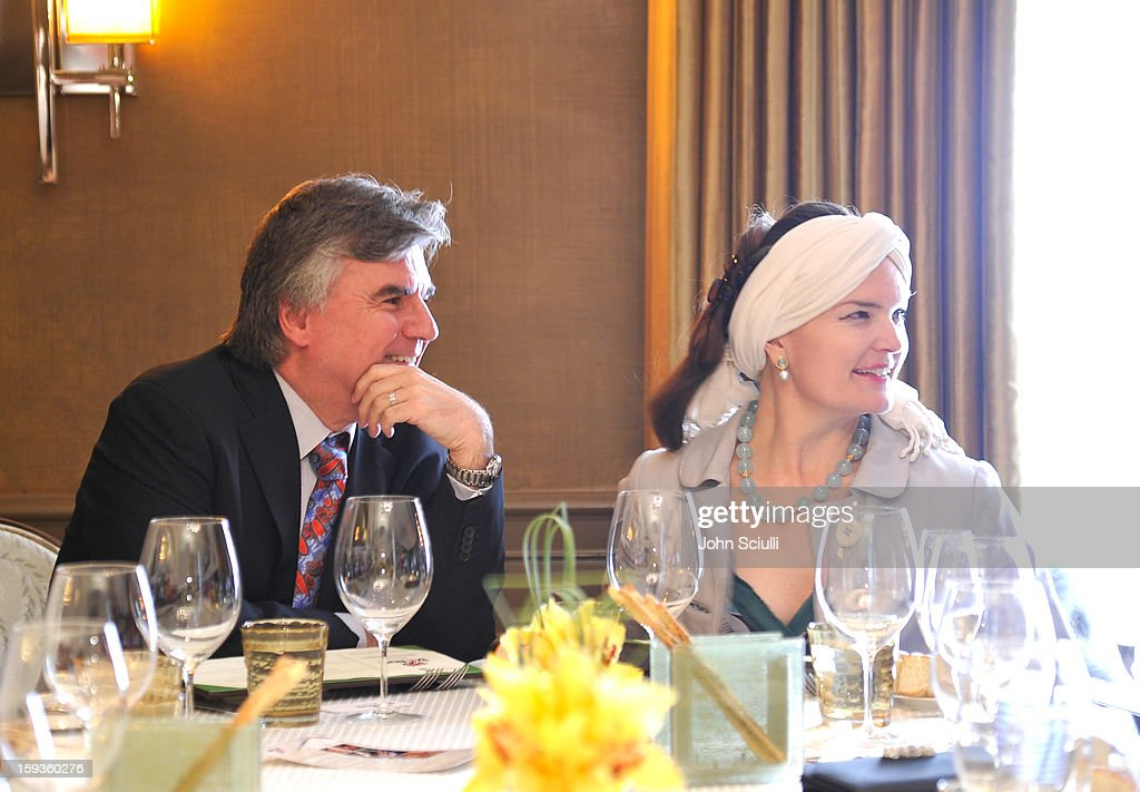 Bob Peirce and Emma Joy Kitchener attend a Golden Globe lunch hosted by BritWeek chairman Bob Peirce honoring Julian Fellowes, Gareth Neame and Michelle Dockery at Four Seasons Hotel Los Angeles at Beverly Hills on January 12, 2013 in Beverly Hills, California.