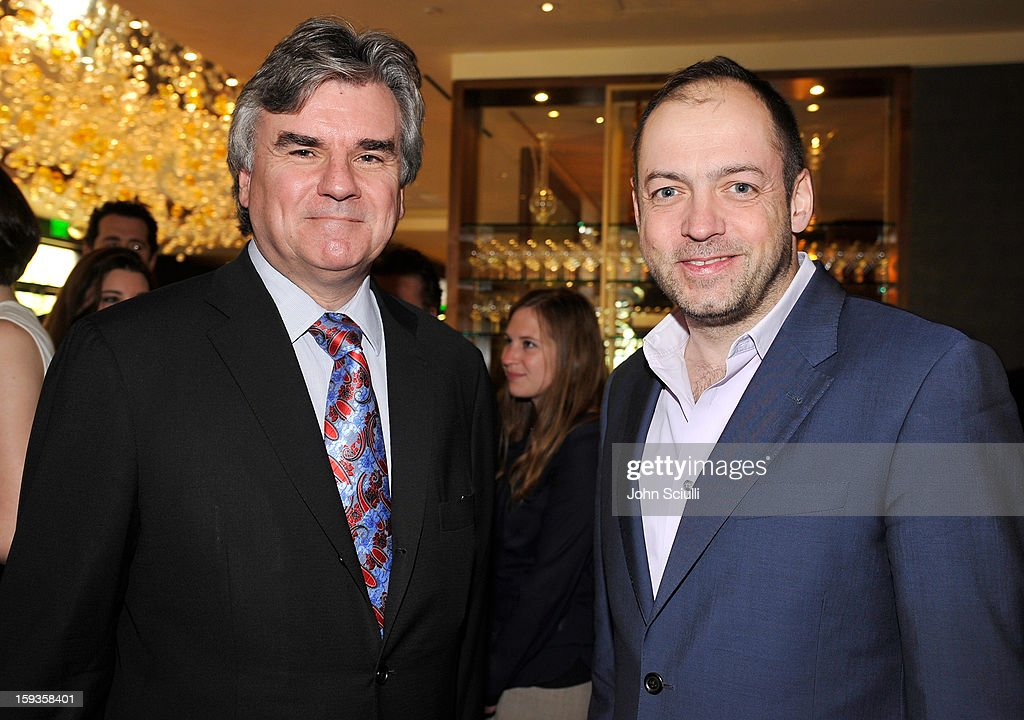 Bob Peirce and Gareth Neame attend a Golden Globe lunch hosted by BritWeek chairman Bob Peirce honoring Julian Fellowes, Gareth Neame and Michelle Dockery at Four Seasons Hotel Los Angeles at Beverly Hills on January 12, 2013 in Beverly Hills, California.