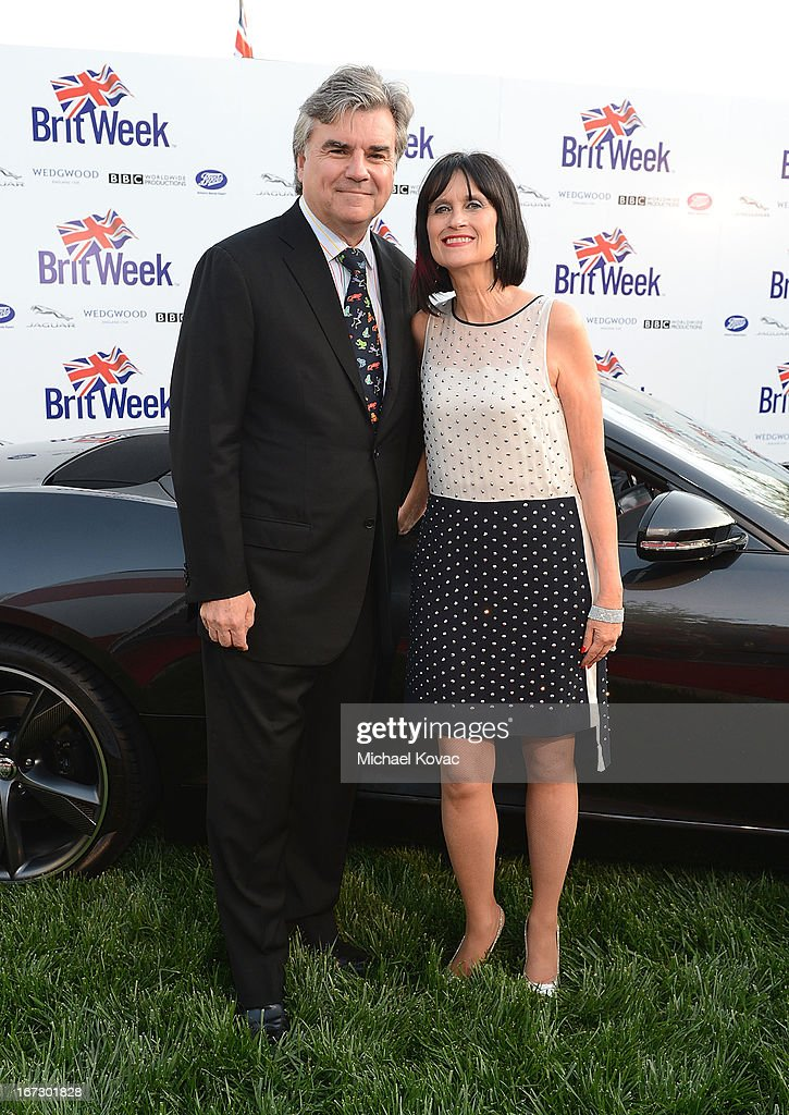 Bob Peirce and Sharon Harroun Peirce attend the BritWeek Los Angeles Red Carpet Launch Party with Official Vehicle Sponsor Jaguar on April 23, 2013 in Los Angeles, California.