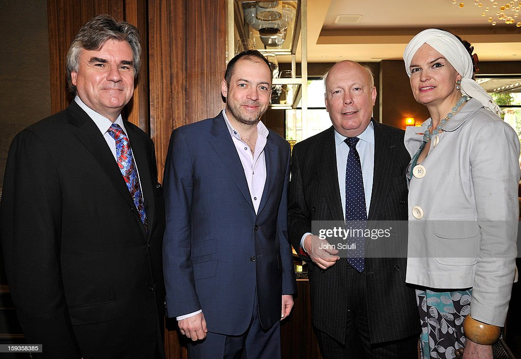 Bob Peirce, Gareth Neame, Julian Fellowes and Emma Joy Kitchener attend a Golden Globe lunch hosted by BritWeek chairman Bob Peirce honoring Julian Fellowes, Gareth Neame and Michelle Dockery at Four Seasons Hotel Los Angeles at Beverly Hills on January 12, 2013 in Beverly Hills, California.