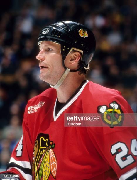 Bob Probert of the Chicago Blackhawks looks on during an NHL game circa March 2000