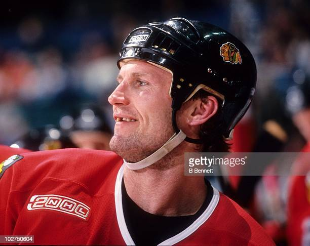 Bob Probert of the Chicago Blackhawks looks on during an NHL game circa February 2000