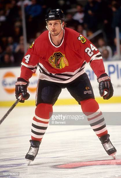 Bob Probert of the Chicago Blackhawks looks to defend during an NHL game circa March 1996