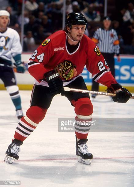 Bob Probert of the Chicago Blackhawks looks to get into the play during an NHL game against the Mighty Ducks of Anaheim on December 171999 at the...