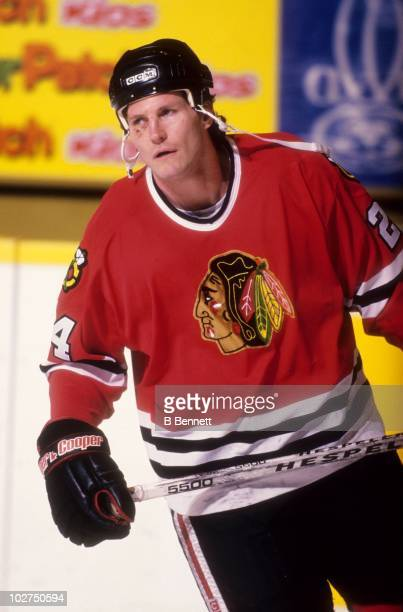 Bob Probert of the Chicago Blackhawks skates on the ice before an NHL game circa January 1996