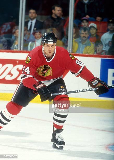 Bob Probert of the Chicago Blackhawks skates on the ice during an NHL game circa October 1995