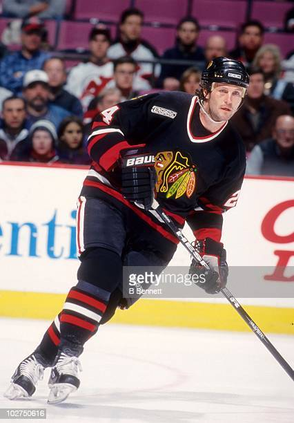 Bob Probert of the Chicago Blackhawks skates on the ice during an NHL game against the New Jersey Devils on January 19 2000 at the Continental...
