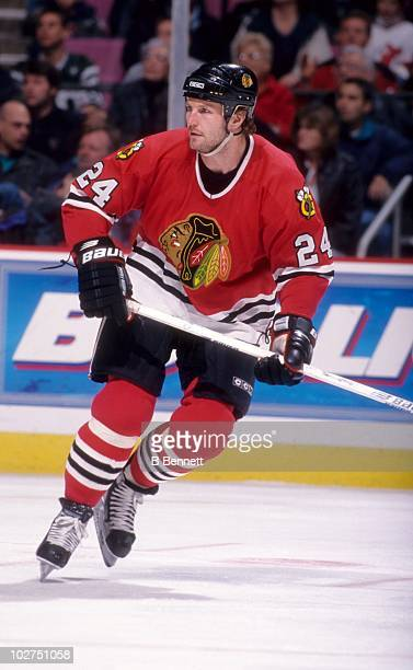 Bob Probert of the Chicago Blackhawks skates on the ice during an NHL game against the New Jersey Devils on March 27 1999 at the Continental Airlines...