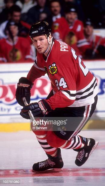 Bob Probert of the Chicago Blackhawks skates on the ice during an NHL game circa February 1996