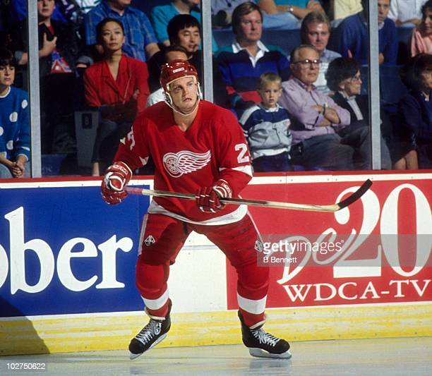 Bob Probert of the Detroit Red Wings looks to jump into the play during an NHL game circa 1991