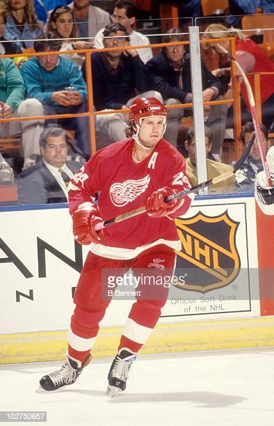 Bob Probert of the Detroit Red Wings skates on the ice during an NHL game against the Los Angeles Kings circa 1991 at the Great Western Forum in...
