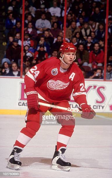 Bob Probert of the Detroit Red Wings skates on the ice during an NHL game against the Philadelphia Flyers circa 1993 at the Spectrum in Philadelphia...