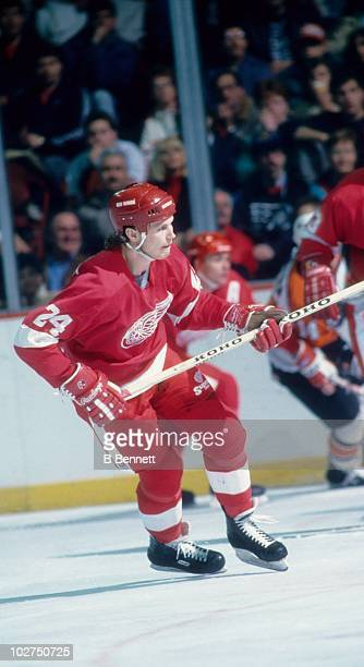 Bob Probert of the Detroit Red Wings skates on the ice during an NHL game against the Philadelphia Flyers circa 1988 at the Spectrum in Philadelphia...