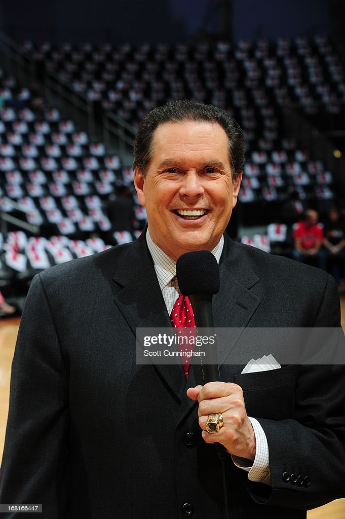 Bob Rathbum the Atlanta Hawks play by play announcer gets interviewed before the game against the Indiana Pacers during Game Six of the Eastern Conference Quarterfinals in the 2013 NBA Playoffs on May 3, 2013 at Philips Arena in Atlanta, Georgia.