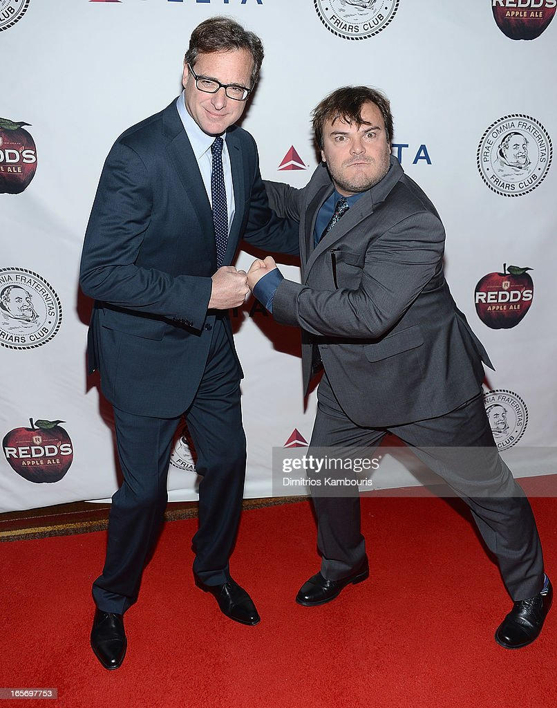 <a gi-track='captionPersonalityLinkClicked' href=/galleries/search?phrase=Bob+Saget&family=editorial&specificpeople=209388 ng-click='$event.stopPropagation()'>Bob Saget</a> and Jack Black attend The Friars Club Roast Honors Jack Black at New York Hilton and Towers on April 5, 2013 in New York City.