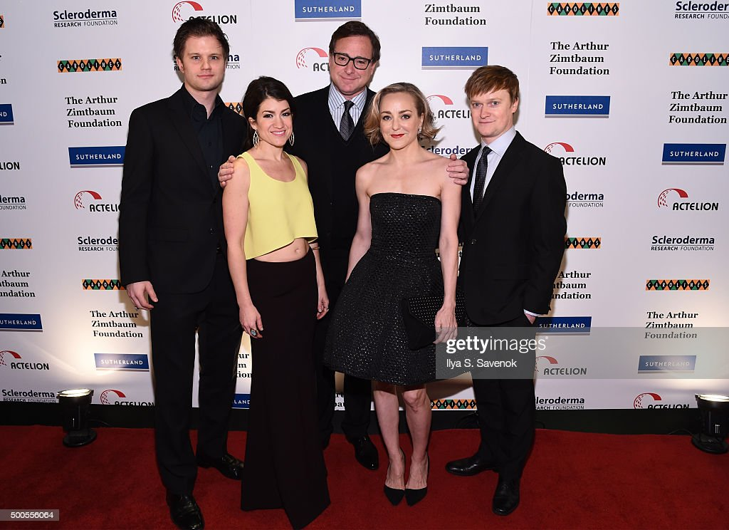 <a gi-track='captionPersonalityLinkClicked' href=/galleries/search?phrase=Bob+Saget&family=editorial&specificpeople=209388 ng-click='$event.stopPropagation()'>Bob Saget</a> (C) poses with the cast of 'Hand of God' during Cool Comedy - Hot Cuisine, A Benefit For The Scleroderma Research Foundation at Carolines On Broadway on December 8, 2015 in New York City.